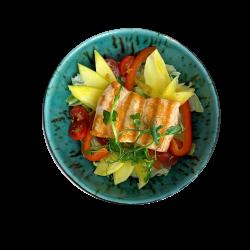 Філе лосося на овочевій подушці з манго