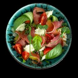 Салат з персиком та прошутто